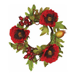 "Oddity - Oddity Christmas Party Decoration 4"" Red Poppy Pod Tendril Candle Ring - Beautiful, rich poppy blossoms rest in a blanket of foliage to create this fall masterpiece. Perfect for fall decor and for displaying throughout the entire winter. You'll look forward to sharing this collection with family and friends year after year after year."