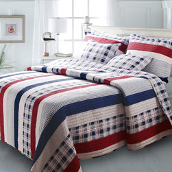 None - Nautical Stripes 3-piece Quilt Set - The classic design of the striped Nautical Quilts set is the perfect add-on to any bedroom. This versatile contemporary quilt is reversible, offering stripes on one side and plaid on the other, and is made of 100-percent cotton for the upmost comfort.