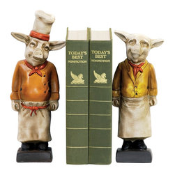 Sterling Industries - Sterling Industries Pair of Chef Pig Bookend X-003303-4 - From the Chef Pig Collection, this Sterling Industries pair of bookends will delight in any cook's kitchen. One pig dons the classic attire of a chef, but in a bold orange hue. On the opposite side, the second pig wears a more tailored coat but with an equally bold yellow hue. Red hanker-chiefs around their necks pull them together.