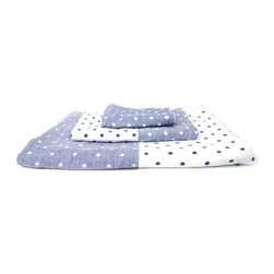 Raindrops Chambray Towel - Give guests the gift of a luxe bath experience. Each Raindrops Chambray Towel has a flat-weave side and a looped terrycloth pile side, which lets you use the towel according to your personal preferences. Absorbent, fast-drying, lightweight, and eco-friendly, this towel is made in Imbari, Japan, an area known for the finest quality cotton. The cotton is cultivated with low-pesticide methods, hand-picked, and combed twice before it becomes thread.