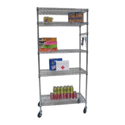 """Trinity - Five Tier NSF Shelving Rack in Chrome - Features: -Shelving rack. -Nickel, chromium, and copper plating- -Chrome plated heavy duty steel wire. -NSF, food-safe certified. -600 lbs weight capacity per shelf. -4"""" swivel casters - two with locks, two without locks. -Shelves are adjustable at 1"""" increments. -Includes sidebar with six hanging hooks. -600 lbs total weight capacity on casters. -Assembly required. -One year warranty. -Dimensions: 72"""" - 77"""" H x 36"""" W x 18"""" D."""