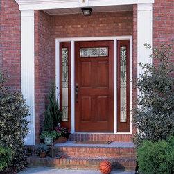 Mahogany Fiberglass Doors - MAHOGANY SERIES: Six Panel Door: Six Panel Full Sidelite w/ Spring Patina ---