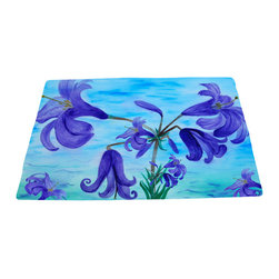 xmarc - Garden Area Plush Area Rugs From Original Art, Lilies, Lilies, 48 X 30 - Garden area plush area rugs from original art. Tree frogs, dragonflies, flowers, lady bug, butterflies.