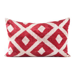 """Indigo&Lavender - 16"""" x 24"""" Silk Velvet Ikat Pillow, Red - Made from Ikat textiles that are loomed from hand-dyed silk in Uzbekistan, along Marco Polo�۪s renowned Silk Road, each pillow has been hand-sewn in Istanbul, Turkey. The goose down fill ensures extra luxury. Solid linen backing and zipper."""