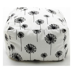 Comfort Research - BeanSack White and Black Dandelion Print Cube Bean Bag Ottoman - Trendy and durable,this BeanSack bean bag cube is filled with long lasting polystyrene beans. Covered on all sides in a beautiful black and white modern dandelion floral print,this cute is perfect as an ottoman,foot rest,added seating and more.
