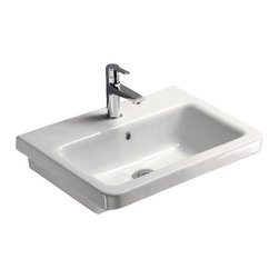 GSI - Rectangular White Ceramic Wall Mounted or Self Rimming Bathroom Sink, 3-Hole - Contemporary rectangular white ceramic wall hung or self-rimming bathroom sink. Washbasin comes with overflow and no hole, one hole or three hole pre-drilled options. Sink towel bar to be purchased separately. Made in Italy by GSI.