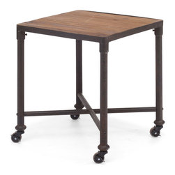 Mission Bay Side Table Distressed Natural - Fir Wood and Metal Side Table in Distressed Natural