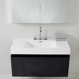 "39"" Mezzo Single Vanity with Mirror - Black (FVN8010BW) - The Fresca 39"" Mezzo Single Vanity is striking in its simplicity. Don't forget to check under the hood with the innovative storage system from Blum that includes a nested drawer. It also features a mirrored medicine cabinet that can be either wall mounted or recessed into a wall. Mirrored Medicine Cabinet includes adjustable shelves. Several free faucet styles to choose from. Optional side cabinets sold separately."