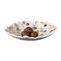 Uttermost Capiz Shell Accented Bowl - Capiz shell accented with concave mirrors and a matte white exterior. Capiz shell accented with concave mirrors and a matte white exterior.