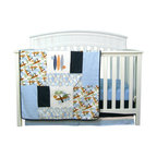 "Trend Lab - Surf'S Up - 3 Piece Crib Bedding Set - Surf's Up dude! Take your nursery on a trip to the tropics with Trend Lab's Surf's Up 3 Piece Crib Bedding Set. Printed and embroidered surf boards, leaves, waves, lizards, and palm trees are combined with soft terry cloth, denim and mini-waffle pique fabrics to create the perfect beach theme. The color palette of powder, midnight and sky blue, burnt orange, chocolate, sage, avocado and white are sure to please. Your little surfer will catch much needed Z's all through the night. Set includes quilt, crib sheet and skirt. The quilt measures 35"" x 45"" and features varying sized patches of a surf themed scatter print in powder blue, burnt orange, chocolate, sage, avocado and midnight blue on a white background, a leaves print in sky blue, burnt orange, sage and white on a powder blue background, sky blue terry cloth, denim and white embroidered mini-waffle pique. Surf themed embroideries feature surf boards, lizards, waves and palm trees. A denim trim adds the finishing touch. Powder blue crib sheet features 10"" deep pockets and fits a standard 52"" x 28"" crib mattress. Elastic around the entire opening ensures a more secure fit. Box pleat skirt with 15"" drop features strips of denim, white mini waffle pique and sky blue terry cloth. Matching Surf's Up Crib Bumpers sold separately. Complete your nursery with coordinating room accessories from the Surf's Up collection by Trend Lab."
