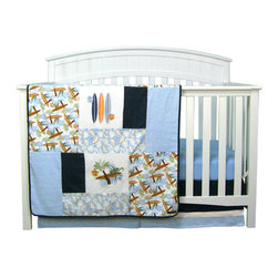 """Trend Lab - Surf'S Up - 3 Piece Crib Bedding Set - Surf's Up dude! Take your nursery on a trip to the tropics with Trend Lab's Surf's Up 3 Piece Crib Bedding Set. Printed and embroidered surf boards, leaves, waves, lizards, and palm trees are combined with soft terry cloth, denim and mini-waffle pique fabrics to create the perfect beach theme. The color palette of powder, midnight and sky blue, burnt orange, chocolate, sage, avocado and white are sure to please. Your little surfer will catch much needed Z's all through the night. Set includes quilt, crib sheet and skirt. The quilt measures 35"""" x 45"""" and features varying sized patches of a surf themed scatter print in powder blue, burnt orange, chocolate, sage, avocado and midnight blue on a white background, a leaves print in sky blue, burnt orange, sage and white on a powder blue background, sky blue terry cloth, denim and white embroidered mini-waffle pique. Surf themed embroideries feature surf boards, lizards, waves and palm trees. A denim trim adds the finishing touch. Powder blue crib sheet features 10"""" deep pockets and fits a standard 52"""" x 28"""" crib mattress. Elastic around the entire opening ensures a more secure fit. Box pleat skirt with 15"""" drop features strips of denim, white mini waffle pique and sky blue terry cloth. Matching Surf's Up Crib Bumpers sold separately. Complete your nursery with coordinating room accessories from the Surf's Up collection by Trend Lab."""