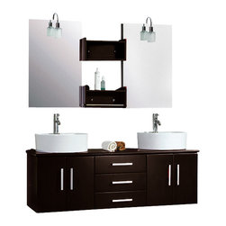 """Cambridge - Cambridge 59"""" Double Bathroom Wall Mounted Wood Vanity Set / Nickel Faucet - A contemporary style of bathroom vanity, the Hematite is wall mounted vantiy that adds style and class to any bathroom. The dark Espresso cabinet has three drawers and four doors that have soft close hinges at no additional cost. The dual matching mirrors come with two Espresso shelves for display of and easy reach of items. Two roundvessel sinks sit on the water resistant cabinet making a striking contrast. Two tall, single stem faucets rise above the vessel sinks and the for ease of installation, the set comes with supply lines, p traps and drains. This complete set will add beauty to your home."""