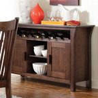 Coaster - Rivera Server - The Rivera collection will blend beautifully with your home decor. The piece has a simple mission inspired style in a gorgeous dark merlot that will blend well with your home. Featuring a smooth rectangular table top and chairs with a high slatted back and padded vinyl seating, this collection makes for a stylish dining ensemble.