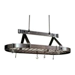 "Enclume - Premier 3 foot Oval Pot Rack W/Grid, Hammered Steel - Dimensions: 36.5""L x 17""W x 22""H"