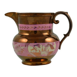 Unmarked - Consigned Lustre Jug with Pink Decor English 19th Century - A fancy water or milk jug, with a molded spout, lustre glaze and pink decoration, English 19th century.
