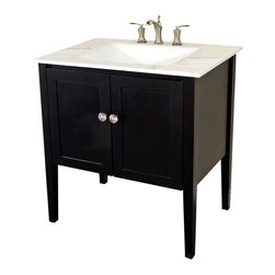 Bellaterra Home - 33.5 in Single sink vanity-wood-Espresso-white phoenix top - All solid wood cabinet with sleek white finish, a transitional design with a modern flare that will fit into any decor. Soft closing doors with ample concealed storage behind two door panels.