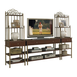 Home Styles - Home Styles St. Ives 3PC Entertainment Center in Cinnamon Cherry - Home Styles - Entertainment Centers - 505134 - St. Ives 3PC Media TV Entertainment Center- St Ives TV Stand is constructed of poplar solids with cherry and birch veneers in a Cinnamon Cherry Finish with iron metal frame. TV Media Stand Features include two storage drawers two fixed shelves and brushed antiqued brass hardware and metalwork. Size: 54w 18d 31.5h. St. Ives Media/Audio Pier Cabinet is constructed of poplar solids with cherry and birch veneers in a Cinnamon Cherry Finish. Features include storage drawer four fixed shelves and antiqued brass hardware and metalwork. Size: 22w 18d 72h