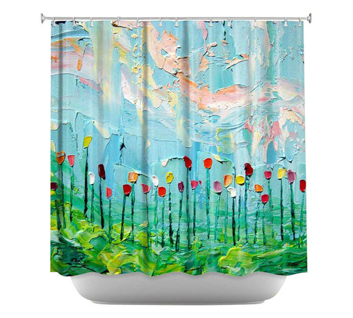 DiaNoche Designs - Stories from A Field Act lxxxi Shower Curtain - Sewn reinforced holes for shower curtain rings. Shower Curtain Rings Not Included. Dye Sublimation printing adheres the ink to the material for long life and durability. Machine Washable. Made in USA.