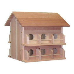 """Heath Mfg - 12Room Redwood Martin House - Easy access hinged doors for nest checks and nest removal. 5"""" x 4.5"""" compartments. Individual porches with guards. Pole not included. Recommend use pole No.MP-15 (SKU 685.9318) ."""