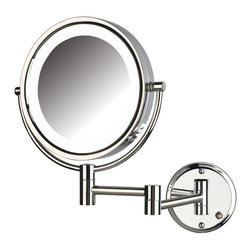 Jerdon HL88CLD 8X Magnified Lighted Wall Mount Mirror, Chrome Finish - HL88CLD
