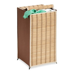 Honey Can Do - Tall Wicker Weave Hamper - Wicker Weave Hamper Tall. Wicker front and back, brown fabric side. Black steel frame. 26 in. H x 15 in. W x 15 in. L
