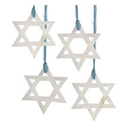 Hanukkah Ornaments - Set of 4 - New - Paired with our beaded version, you can celebrate Hanukkah in style with these Star of David ornaments, a simple and sincere reminder of your faith. If your household doesn't celebrate the season with a tree, hang them from your chandelier or on the wall, or incorporate them as part of a centerpiece.