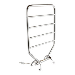 Jerdon RTC Warmrails Mid Size Wall Mounted or Floor Standing Towel Warmer, 34-In - The Warmrails RTC Towel Warmer is ideal for bathrooms with limited floor space and allows the option to be used as a floor model or can be mounted to the wall. With a chrome finish, this warmer will turn your ordinary bathroom into the ultimate, luxury spa experience. This rack has (5) bars for hanging more than one towel or fabrics at once. The 80-watts of power will warm your delicate clothing, hand washables, swimsuits, baby blankets and bedding and keep your towels dry, warm and fresh all year long while using about the same amount of energy as a light bulb.  Warmrails towel warmers are designed to run 24-hours a day and plug into a standard bathroom electrical outlet. Be sure garments and towels are colorfast to avoid fading. Great for year- round use as it draws moisture away during the hot, humid months and helps prevent mold, mildew and the musty smell on towels compared to towels that dry just at room temperature.  All models are heated with dry element technology which is oil and liquid free. The Warmrails RTC model measures 21-inches (L) by 34-inches (H) by 9-inches (W) for the floor model and 21-inches (L) 32.5-inches (H) 3.75e (D) for the wall mount version. It includes a 7-foot electrical cord, an illuminated on/off switch, hardware for installation, instruction manual and is ETL/cETL listed, which means it has been tested and approved by a third party for quality and safety for use in the United States and Canada. This product reaches its optimum temperature in 30-40 minutes but will require 2-3 hours for the heat to build in the fibers of the towel. This towel warmer comes with a 1-year limited warranty, provided to the original purchaser, which protects this product from manufacturing defects in material, assembly and workmanship.