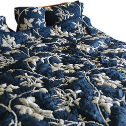 Crewel Fabric World - Crewel Bedding  Starry Night Deep Blue Silk Organza Queen Quilt - Artisans in a remote mountain village in Kashmir crewel stitch these blossoms, vines and leaves by hand, resulting in a lush pattern of richly shaded wool yarns on Linen, Cotton, Velvet and Silk.