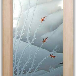 """Interior Glass Doors - Ocotillo Blooms 3D with Color - CUSTOMIZE YOUR INTERIOR GLASS DOOR!  Interior glass doors or glass door inserts.  .Block the view, but brighten the look with a beautiful interior glass door featuring a custom frosted glass design by Sans Soucie!  ship for just $99 to most states, $159 to some East coast regions, custom packed and fully insured with a 1-4 day transit time.  Available any size, as interior door glass insert only or pre-installed in an interior door frame, with 8 wood types available.  ETA will vary 3-8 weeks depending on glass & door type........  Select from dozens of sandblast etched obscure glass designs!  Sans Soucie creates their interior glass door designs thru sandblasting the glass in different ways which create not only different levels of privacy, but different levels in price.  Bathroom doors, laundry room doors and glass pantry doors with frosted glass designs by Sans Soucie become the conversation piece of any room.   Choose from the highest quality and largest selection of frosted decorative glass interior doors available anywhere!   The """"same design, done different"""" - with no limit to design, there's something for every decor, regardless of style.  Inside our fun, easy to use online Glass and Door Designer at sanssoucie.com, you'll get instant pricing on everything as YOU customize your door and the glass, just the way YOU want it, to compliment and coordinate with your decor.   When you're all finished designing, you can place your order right there online!  Glass and doors ship worldwide, custom packed in-house, fully insured via UPS Freight.   Glass is sandblast frosted or etched and bathroom door designs are available in 3 effects:   Solid frost, 2D surface etched or 3D carved. Visit our site to learn more!"""
