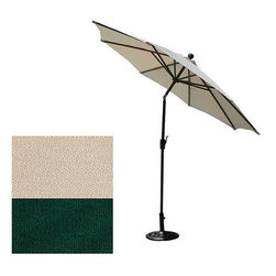 None - Push-button Tilt 9-foot Aluminum Patio Umbrella - Stay in the shade all day with this adjustable aluminum patio umbrella. With the push of a button,the umbrella tilts to block the sun and protect your skin. The umbrella is available in three natural colors,so you can choose one that suits your yard.