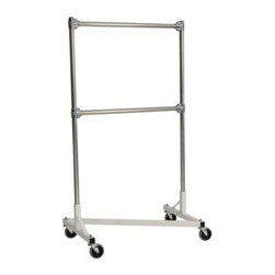 "Quality Fabricators - Z-Rack - Heavy Duty 36"" Long Base Double Rail w/ 60"" Uprights White - This two-rail ""Z"" Rack has the load-bearing capacity and physical hang space to actually hold two full rows of clothing. You may have seen other double rail racks sold in consumer stores, but often the parallel bars are not wide enough to hold items. Their racks maintain the same dimensions as single rail racks but force more apparel in the same space. That s not dependability it s an accident waiting to happen. This rack combats all these problems by placing the hang rails on top of one another so the full weight of the clothing is supported inside the wheel base. Up to 500 lbs can be loaded on the race without any sagging or bending guaranteeing that this rack will outlast all the others."