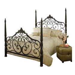 Hillsdale Furniture - Hillsdale Parkwood Poster Bed - King - Hillsdale Furniture's Parkwood bed is the definition of traditional elegance. A classic four poster design, this bed features graceful arched lines, intricate castings, sculpted finials and flowing scrollwork. Constructed from heavy gauge fully welded tubular steel, the Parkwood bed boasts a dynamic black gold finish.