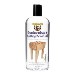Howard Butcher Block & Cutting Board Oil 12oz BBB012 - Howard Butcher Block & Cutting Board Oil 12oz HOW-BBB012 Height Width Depth Howard Butcher Block and Cutting Board Oil contains food grade mineral oil stabilized with Vitamin E. Our Butcher Block and Cutting Board Oil meets FDA requirements for food contact surfaces, and is safe for all food preparation surfaces. It is tasteless, and will never go rancid. This product is perfect for seasoning cutting boards, butcher blocks and wooden utensils.  Meets all requirements for USP Light Mineral Oil, National Formulary (NF), FDA 21 CFR 172.878 and 21 CFR 178.3620 (a) for direct and indirect contact with food.