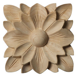 """Ekena Millwork - 4 1/4""""W x 4 1/4""""H x 5/8""""P Springtime Rosette, Maple - Our rosettes are the perfect accent pieces to cabinetry, furniture, fireplace mantels, ceilings, and more.  Each pattern is carefully crafted after traditional and historical designs.  Each piece is carefully carved and then sanded ready for your paint or stain.  They can install simply with traditional wood glues and finishing nails."""