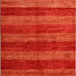 """ALRUG - Handmade Red/Rust Oriental Gabbeh Rug 5' 4"""" x 7' 8"""" (ft) - This Pakistani Gabbeh design rug is hand-knotted with Wool on Cotton."""