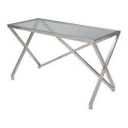 Nuevo Living - Jordan Desk in Stainless Steel and Glass by Nuevo - HGTA770 - The Jordan desk features a brushed stainless steel frame and a clear tempered glass top.