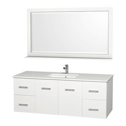 "Wyndham Collection(R) - Centra 60"" Single Bathroom Vanity for Undermount Sinks by Wyndham Collection - M - The Wyndham Collection is an entirely unique and innovative bath line. Sure to inspire imitators, the original Wyndham Collection sets new standards for design and construction.Simplicity and elegance combine in the perfect lines of the Centra vanity by the Wyndham Collection®. If cutting-edge contemporary design is your style then the Centra vanity is for you - modern, chic and built to last a lifetime. Available with green glass, pure white man-made stone, ivory marble or white carrera marble counters, and featuring soft close door hinges and drawer glides, you'll never hear a noisy door again! The Centra is available with porcelain sinks and matching mirrors. Meticulously finished with brushed chrome hardware, the attention to detail on this beautiful vanity is second to none.Centra Bathroom Vanities are available here in multiple sizes and finishes and are now available with optional CaesarStone® counters!FeaturesConstructed of environmentally friendly, zero emissions solid Oak hardwood, engineered to prevent warping and last a lifetime12-stage wood preparation, sanding, painting and finishing processHighly water-resistant low V.O.C. sealed finishUnique and striking contemporary designModern Wall-Mount DesignMinimal assembly requiredDeep Doweled DrawersFully-extending under-mount soft-close drawer slidesConcealed soft-close door hingesCounter options include Green Glass, Pure White Man-Made Stone, Ivory Marble, White Carrera Marble, and CaesarStone (many colors available)Backsplash not availableAvailable with Porcelain undermount sink(s) Pre-drilled for asingle hole faucetFaucet(s) not includedMetal exterior hardware with brushed chrome finishTwo (2) functional doorsFour (4) functional drawersMatching mirror(s) availablePlenty of storage spacePlenty of counter spaceVariations in the shading and grain of our natural stone products enhance the individuality of your vanity and ensure that it will be truly uniqueHow to handle your counterSpec Sheet Vanity Installation Guide Installation Guide for Mirrors Spec Sheet for WC-V202 Spec Sheet for WC-V207Installation Guide for WC-V207 Natural stone like marble and granite, while otherwise durable, are vulnerable to staining from hair dye, ink, tea, coffee, oily materials such as hand cream or milk, and can be etched by acidic substances such as alcohol and soft drinks. Please protect your countertop and/or sink by avoiding contact with these substances. For more information, please review our ""Marble & Granite Care"" guide. Please note that all custom natural stone and Caesarstone counters are proudly manufactured in the USA specifically for your order, and so require up to 3 weeks manufacturing time. Caesarstone Carbone, Starry Night, Spring Blossom, and Marrone are made from recycled content. Quartz Reflections and Ruby Reflections colors are made with up to 35% post-consumer recycled glass. Chocolate Truffle color is made with up to 17% post-consumer recycled glass."