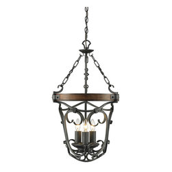 Golden Lighting - Golden Lighting 1821-3P-BI Madera 3 Light Chandeliers in Black Iron - Traditional style influenced by Spanish design. Detailed metal scrollwork is hand forged. Black Iron finish is lightly weathered. Solid wood accents give a casual and rustic feel. Hand-painted Toscano glass casts a warm glow. A chandelier creates a stylish focal point. A lantern style welcome for entry or stairways.