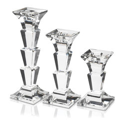 Mikasa - Mikasa Delray Crystal Candlesticks (Set of 3) - The Mikasa Delray Crystal candlesticks have a contemporary design,and stunning clarity and brilliance that will add class to any location. This gorgeous set makes a great gift for any occasion as well as an unique accent piece in your home.