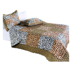 Blancho Bedding - Leopard Pattern Cotton 3PC Vermicelli-Quilted Patchwork Quilt Set  Full/Queen - The [Leopard Pattern] Quilt Set (Full/Queen Size) includes a quilt and two quilted shams. This pretty quilt set is handmade and some quilting may be slightly curved. The pretty handmade quilt set make a stunning and warm gift for you and a loved one! For convenience, all bedding components are machine washable on cold in the gentle cycle and can be dried on low heat and will last for years. Intricate vermicelli quilting provides a rich surface texture. This vermicelli-quilted quilt set will refresh your bedroom decor instantly, create a cozy and inviting atmosphere and is sure to transform the look of your bedroom or guest room. (Dimensions: Full/Queen quilt: 90.5 inches x 90.5 inches Standard sham: 24 inches x 33.8 inches)