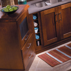 StarMark Cabinetry Kitchen in Transitional styling - This kitchen was created with StarMark Cabinetry's Milan door style in Cherry finished in a cabinet color called Chestnut.
