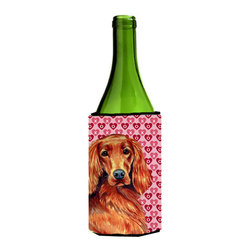 Caroline's Treasures - Irish Setter Hearts Love and Valentine's Day Portrait Wine Bottle Koozie Hugger - Irish Setter Hearts Love and Valentine's Day Portrait Wine Bottle Koozie Hugger Fits 750 ml. wine or other beverage bottles. Fits 24 oz. cans or pint bottles. Great collapsible koozie for large cans of beer, Energy Drinks or large Iced Tea beverages. Great to keep track of your beverage and add a bit of flair to a gathering. Wash the hugger in your washing machine. Design will not come off.