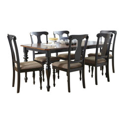 Liberty Furniture - Liberty Furniture Abbey Court 7 Piece 72x38 Rectangular Dining Room Set w/ Splat - Elegantly styled and casually proportioned, Abbey Court works in a dining room as well as a kitchen dining combination. Black and cherry is a versatile finish for the home and is a nice accent to other wood tones throughout the house. Tables feature canted corners and heavy turned legs. Fancy face cheery veneers accent the table top. Two chair options feature napoleon styling with an x back and a saber leg or a splat back and a turned leg. Both chair seats are upholstered in sand chenille. The buffet features two top drawers, a center shelf with wine bottle storage and glass stemware holders flanked by two wooden doors for concealed storage. The sliding glass door hutch has x grid onlays as well as a bead board back panel with wood framed glass shelves. Touch lighting features a center can light. What's included: Dining Table (1), Side Chair (6).