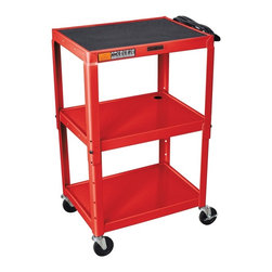 H. Wilson - Adjustable AV Cart w 15 ft. Cord in Red - Three shelves. Three outlet electrical assembly with 15 ft. cord. Non-slip rubber mat for top shelf. Arc-welded shelves. Top and middle shelves holes for cable management. Four 4 in. full swivel ball bearing casters two with locking brake. 0.25 in. retaining lip around each shelf. Weight capacity: Up to 200 lbs.. 24 in. L x 18 in. W x 24 in. - 42 in. H. Warranty. Assembly Instructions