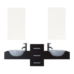 "JWH Imports - 58"" Modus Double Vessel Sink Modern Bathroom Vanity Furniture Set - Astonishingly sleek and modern in design, this double vanity is a no-fuss solution to outfitting your bathroom. The fixture features partially recessed ceramic sinks, in an appealingly stark contrast to dark counters, and a center panel of three sliding drawers for sensible storage that is understated yet so aesthetically appeasing."