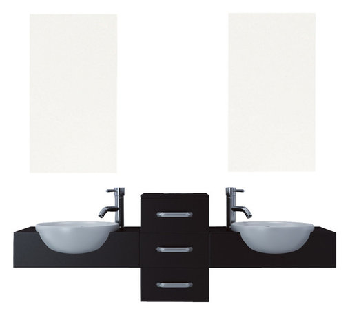 """JWH Imports - 58"""" Modus Double Vessel Sink Modern Bathroom Vanity Furniture Set - Astonishingly sleek and modern in design, this double vanity is a no-fuss solution to outfitting your bathroom. The fixture features partially recessed ceramic sinks, in an appealingly stark contrast to dark counters, and a center panel of three sliding drawers for sensible storage that is understated yet so aesthetically appeasing."""