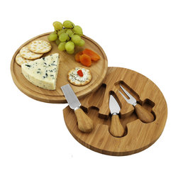 Picnic at Ascot - Feta Cheese Board Set - The Feta round cheese board set with hidden swivel base with tools. Includes three stainless steel serving utensils with bamboo handles. Convenient compact size and juice groove detail. Great to take along to an outdoor picnic and makes an excellent gift. Natural bamboo wood. Lifetime Warranty.