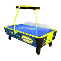 Dynamo - Dynamo 8 ft. Hot Flash II Air Hockey Table Multicolor - HOT FLASH II AIR HOCKEY - Shop for Air Hockey from Hayneedle.com! Bring bright and boisterous blacklight air hockey to your basement! The Dynamo 8 ft. Hot Flash II Air Hockey Table is the same machine you've seen at the arcade without the trouble of dropping in coins or tokens. It features a heavy-duty rock-solid body covered in bright blacklight graphics an overhead scoring unit with LED display side rail shields that keep the action on the table and much much more. A powerful DynaBlast blower sits beneath providing a cushion for quick smooth play and included leg levelers keep things well on the level. Whoever said hockey wasn't psychedelic? About Valley-DynamoOver the past 50 years Valley-Dynamo has earned its reputation as the producer of the world's highest quality game tables. Exacting standards and a steadfast commitment to customer support have made Valley-Dynamo the top choice for both home and commercial table games. A trusted name across the globe Valley-Dynamo foosball tables air hockey tables and pool tables are chosen more than any other table the world over.