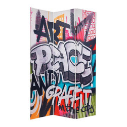 Oriental Furniture - 6 ft. Tall Double Sided Graffiti Canvas Room Divider - Lightweight, hinged panels crafted from primed poly-cotton canvas stretched onto durable mitered wood frames. Quality ink jet printed image on both front and back, meaning it can be used as a background, a decoration, or as a double sided barrier to divide a large space. With bold urban graffiti characters, this screen is stylish and practical, perfect for a dorm room, art studio or rec room.