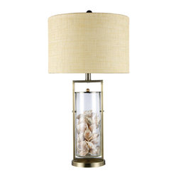 Dimond Lighting - Dimond Lighting D1978 Millisle 1 Light Table Lamps in Antique Brass And Clear Gl - Millisle Table Lamp in Antique Brass and Clear Glass with Shells Inside and an Off-White Woven Linen Shade-Off-White Fabric Liner